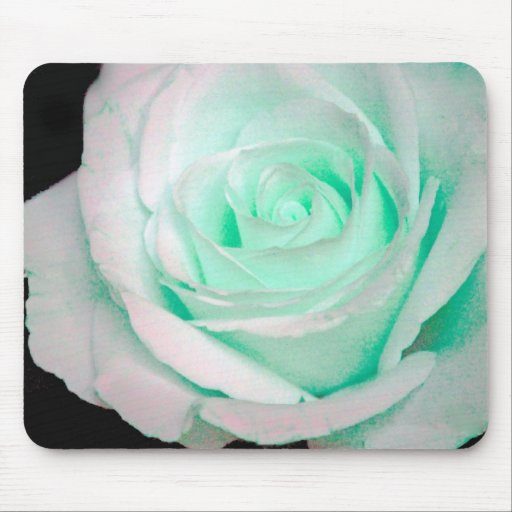 Green & White Rose... Mouse Pads