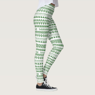 Green/White Rows Christmas Font Art Pattern Leggings