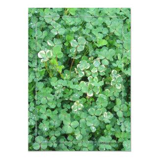 Green White Shamrocks Custom Invitations