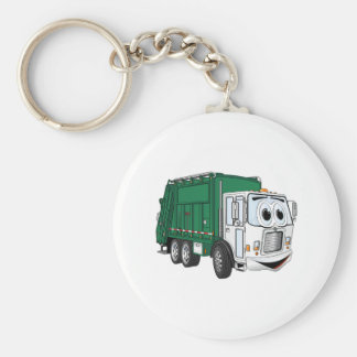 Green White Smiling Garbage Truck Cartoon Basic Round Button Key Ring