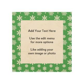 Green White Snowflakes Pattern 1 Wood Prints