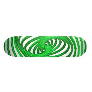 Green & White Spiral Graphics: Skateboard