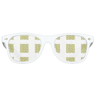 Green & White square art Adult Retro Party Shades