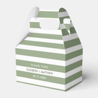 Green White Stripe Pattern Wedding Favor Boxes