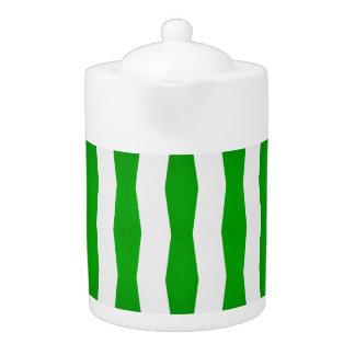 green/white stripe print tea pot