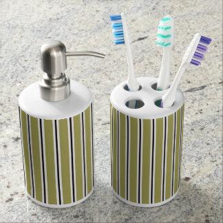 Green White Striped Bathroom Soap Toothbrush Set