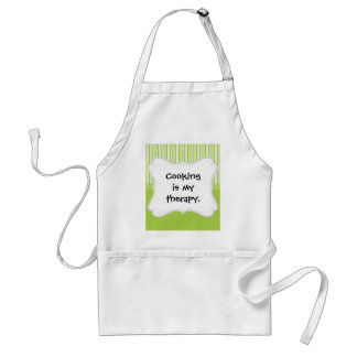Green White Stripes and Polka Dots with a Ribbon Adult Apron