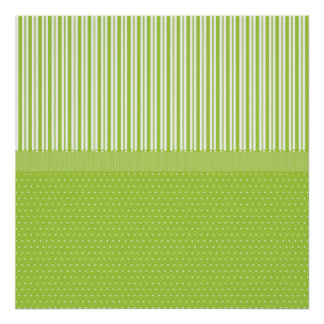 Green White Stripes and Polka Dots with a Ribbon Poster