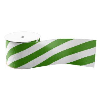 Green & White Stripes Grosgrain Ribbon