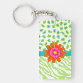 Green, White & Teal Zebra & Cheetah Orange Flower Double-Sided Rectangular Acrylic Keychain