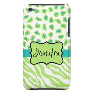 Green, White & Teal Zebra & Cheetah Personalized iPod Touch Case