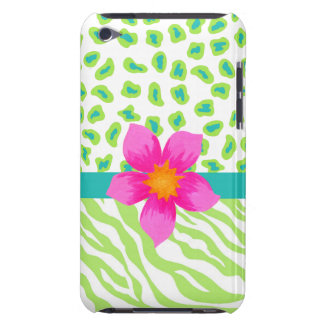 Green, White & Teal Zebra & Cheetah Pink Flower Barely There iPod Covers