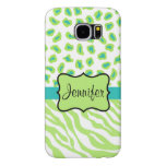 Green White Teal Zebra Leopard Name Personalised Samsung Galaxy S6 Cases