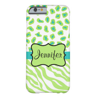 Green White Teal Zebra Leopard Name Personalized Barely There iPhone 6 Case