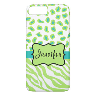 Green White Teal Zebra Leopard Name Personalized iPhone 7 Plus Case