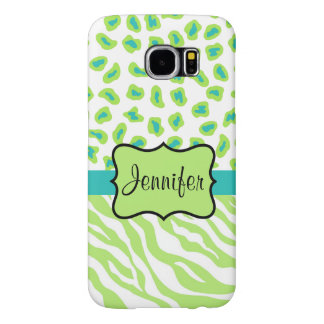 Green White Teal Zebra Leopard Name Personalized Samsung Galaxy S6 Cases