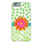 Green, White Teal Zebra Leopard Skin Orange Flower Barely There iPhone 6 Case