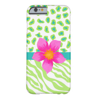 Green, White Teal Zebra Leopard Skin Pink Flower Barely There iPhone 6 Case