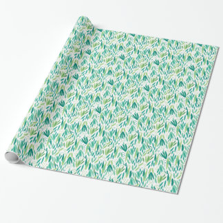 Green & White Tropical Leafs Pattern Wrapping Paper