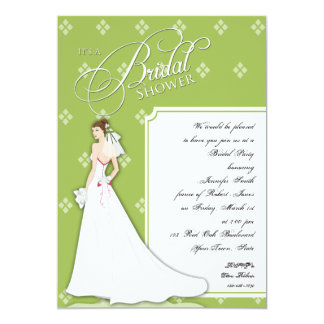 Green White Vintage Bridal Shower Invitation