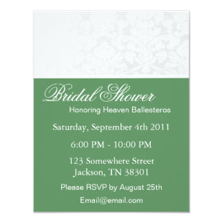 Green & White Vintage Bridal Shower Invitations