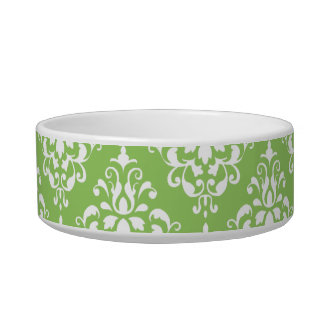 Green White Vintage Damask Pattern 1 Bowl