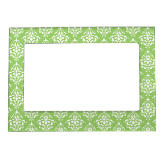 Green White Vintage Damask Pattern 1 Picture Frame Magnet