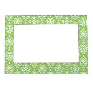 Green White Vintage Damask Pattern 1 Picture Frame Magnet