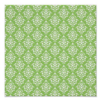 Green White Vintage Damask Pattern 1 Poster