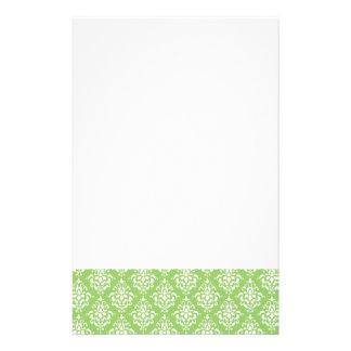 Green White Vintage Damask Pattern 1 Stationery