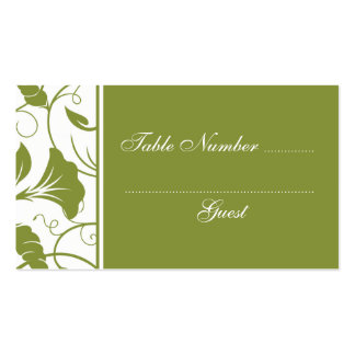 Green & White Wedding Table Assignment Place Cards Business Card Templates