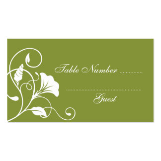 Green & White Wedding Table Assignment Place Cards Business Card Template