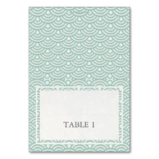 Green + White Wedding Wave Pattern Place Name Card Table Card
