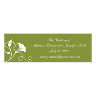 Green & White Wedding Website Information Cards Business Card Templates