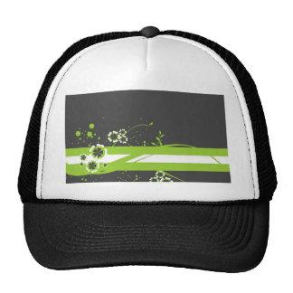 Green * White Whimsy on Black Cap
