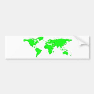 Green White World Map Bumper Sticker
