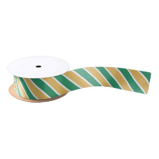 Green White & Yellow Stripes Satin Ribbon