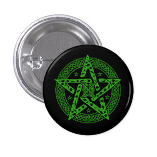 Green Wiccan Celtic Pentagram Button