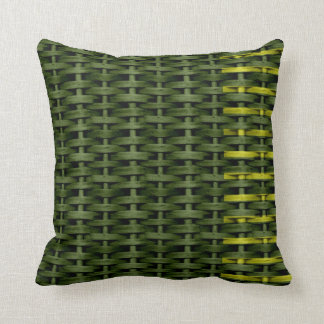 Green wicker graphic design throw cushion