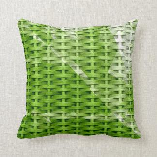 Green wicker retro graphic design cushions
