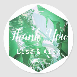 Green Wild Banana Leaves Thank You Wedding Sticker