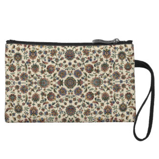 Green Wildflowers Tapestry spiral frame Wristlet Clutches