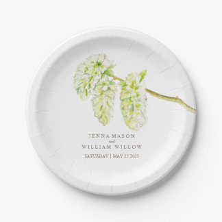 Green willow catkins custom wedding plates 7 inch paper plate