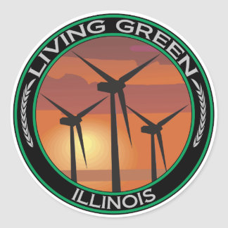 Green Wind Illinois Round Sticker