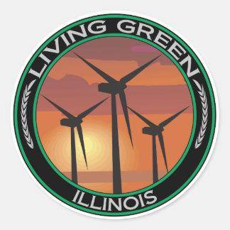 Green Wind Illinois Round Sticker