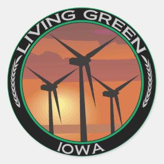 Green Wind Iowa Classic Round Sticker
