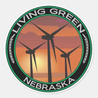 Green Wind Nebraska Classic Round Sticker