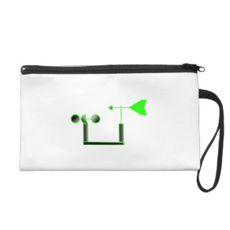 Green Wind Speed and Weather Vane Wristlet Clutches