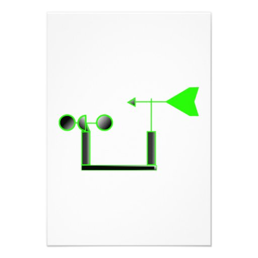Green Wind Speed and Weather Vane Personalized Invite