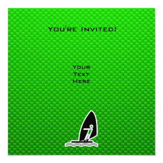 Green Windsurfing 13 Cm X 13 Cm Square Invitation Card